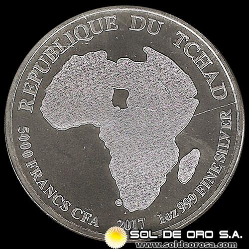 REPUBLIC OF CHAD - 5.000 CENTRAL AFRICAN FRANCS (CFA) - MONEDA DE PLATA