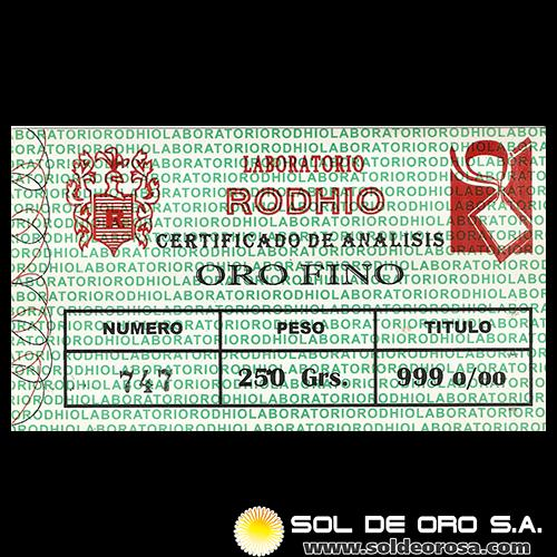 RODHIO - BARRA DE ORO 999.9 - 250 GRAMOS - BLUE MOON REFINING GROUP