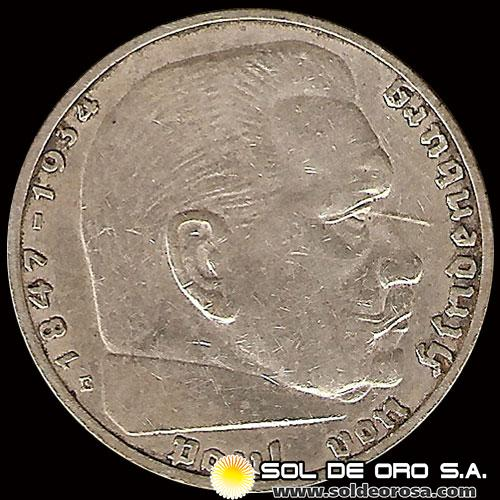 GERMANY - THIRD REICH - 2 REICHSMARK - AÑO 1937 - MONEDA DE PLATA