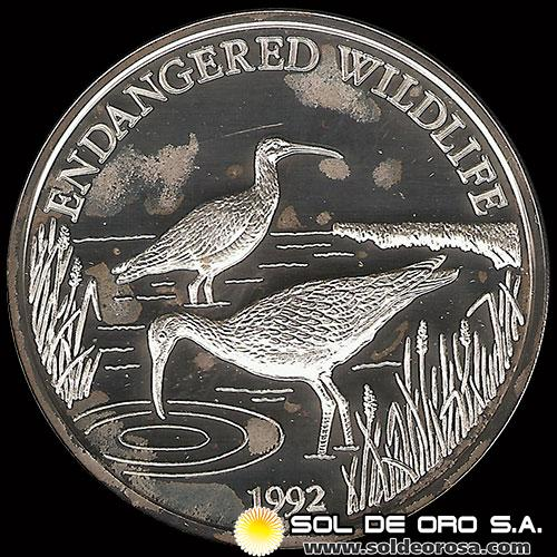 SAMOA I SISIFO - 10 DOLLAR - AŃO 1992 - ENDANGERED WORLD WILDLIFE - MONEDA DE PLATA