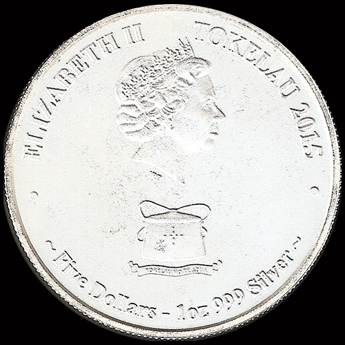 TOKELAU - 5 DOLLARS - ELIZABETH II - 2015 - MOKOHA-GREAT WHITE SHARK - MONEDA DE PLATA