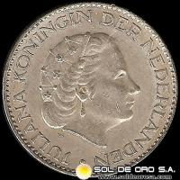 HOLANDA - NETHERLANDS - 1 GULDEN - Ruler: JULIANA - AÑO 1956 - MONEDA DE PLATA