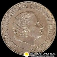 HOLANDA - NETHERLANDS - 2-1/2 GULDEN - AÑO 1960 - Ruler: JULIANA - MONEDA DE PLATA