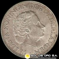 HOLANDA - NETHERLANDS - 2-1/2 GULDEN - AÑO 1966 - Ruler: JULIANA - MONEDA DE PLATA