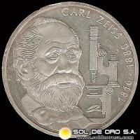ALEMANIA - 10 MARK - AÑO 1988 - Subject: 100th Anniversary - Death of Carl Zeiss - MONEDA DE PLATA
