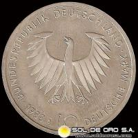 ALEMANIA - GERMANY - FEDERAL REPUBLIC - 10 MARK / 10 MARCOS, 1988 D - Subject: 200 th Anniversary - Birth of Arthur Schopenhauer - MONEDA DE PLATA