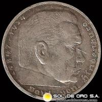 GERMANY - THIRD REICH - 5 REICHSMARK - AÑO 1936 A - Subject: HINDENBURG ISSUE - MONEDA DE PLATA