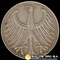 ALEMANIA - 5 MARK - AÑO 1951 j - MONEDA DE PLATA