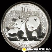 CHINA - PANDA 1 oz., 10 - AÑO 2010 - MONEDA DE PLATA