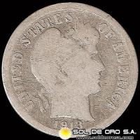 ESTADOS UNIDOS - UNITED STATES - BARBER DIME DOLLAR, 1913 - MONEDA DE PLATA