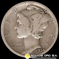 ESTADOS UNIDOS - UNITED STATES - MERCURY DIME DOLLAR, 1934 - MONEDA DE PLATA