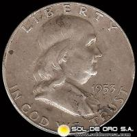 ESTADOS UNIDOS - UNITED STATES - FRANKLIN HALF DOLLAR, 1953 - MONEDA DE PLATA