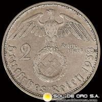 GERMANY - THIRD REICH - 2 REICHSMARK - AÑO 1938 - MONEDA DE PLATA