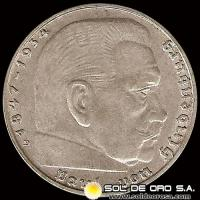 GERMANY - THIRD REICH - 2 REICHSMARK - AÑO 1939 - MONEDA DE PLATA