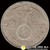GERMANY - THIRD REICH - 2 REICHSMARK - A�O 1939 - MONEDA DE PLATA