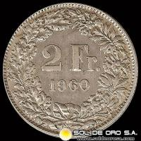 SUIZA - SWITZERLAND - 2 FRANCS - AÑO 1.960 - MONEDA DE PLATA