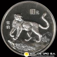 REPÚBLICA POPULAR DE CHINA - 10 YUAN, AÑO 1992 - MONEDA DE PLATA