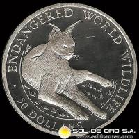 COOK ISLANDS - ENDANGERED WORLD WILDLIFE - 50 DOLLARS - AÑO 1990 - MONEDA DE PLATA
