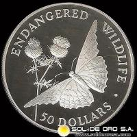 COOK ISLANDS - ENDANGERED WORLD WILDLIFE - 50 DOLLARS - AÑO 1992 - MONEDA DE PLATA