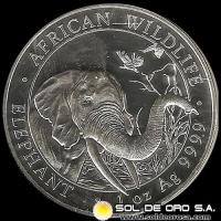 SOMALI REPUBLIC - 100 SHILLINGS - AÑO 2.018 - AFRICAN WILDLIFE - ELEPHANT - MONEDA DE PLATA
